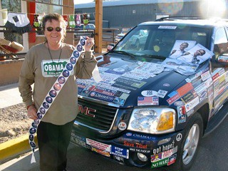 Lisa L. in front of her 2008 Obama-Mobile
