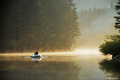 fishing  in Beglika , Rhodope mountains (.:: Maya ::.) Tags: mist mountain lake reflection water pine clouds boat fishing fisherman woods bulgaria mystic  rodopi  rodopa  rhodope    beglika      mayaeye mayakarkalicheva  wwwmayaeyecom