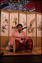 Changgo (Hourglass Drum) Player at P'ansori Performance, Seattle (Washington State Folk Arts) Tags: drums musicalinstruments storytellers narrators verbalartsandliterature koreanpansoriperformers changgos
