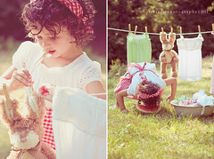 Doing the laundry makes me hungry too... (Kimberly Chorney) Tags: summer bunny vintage sweet curls naturallight watermelon littlegirl hangingclothes
