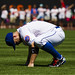 David Wright stretches his back