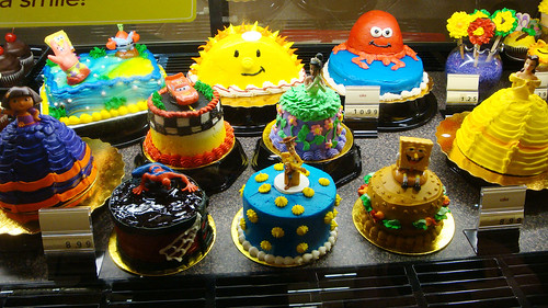 Some of the colorfully decorated cakes in the new bakery department. Photo by John Stashik.