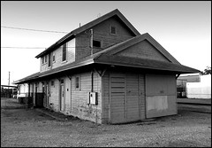 Strathmore Depot  --  Circa 2000 (greenthumb_38) Tags: railroad blackandwhite bw building abandoned blackwhite wooden closed 2000 structure depot duotone southernpacific shuttered september2000 espee canona50 jeffreybass