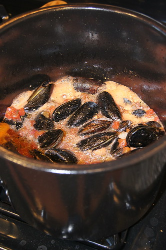 Mussels Boiling in Pot