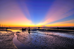 ~ (Vincent_Ting) Tags: sunset sea sky reflection beach water clouds nikon   windturbine   d90      oysterfield    sandtrace