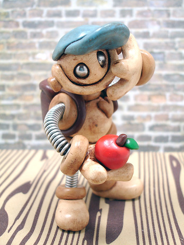 Blue Billy Back to School Grungy Bot Robot Sculpture by HerArtSheLoves