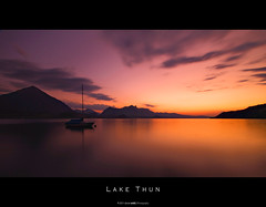 Lake Thun [Explore 2011-08-20 #230] (Daniel Wildi Photography) Tags: sunset sky lake water beautiful clouds river schweiz switzerland boat long exposure mood sailing place tranquility atmosphere calm landing explore filter serenity nd stunning sail thun aar aare niesen berneroberland berneseoberland stockhorn 2011 merligen nd8 nd4 cantonbern kantonbern mygearandme danielwildi|photography