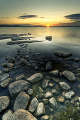 Stepping stones (- David Olsson -) Tags: sunset lake nature water landscape nikon rocks sundown stones tripod sigma karlstad steppingstones 1020mm polarizer hdr cpl vrmland hss polarizingfilter lakescape photomatix kronoparken alstern d5000 davidolsson sliderssunday