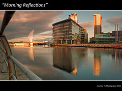 """""""Morning Reflections"""" (awhyu) Tags: city morning bridge manchester media panasonic bbc greater scape salford quays lx5"""