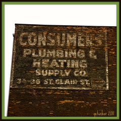 Comsumers Plumbing (the Gallopping Geezer 3.3 million + views....) Tags: ohio brick sign wall paint ghost plumbing faded toledo heating geezer supply consumers 2011