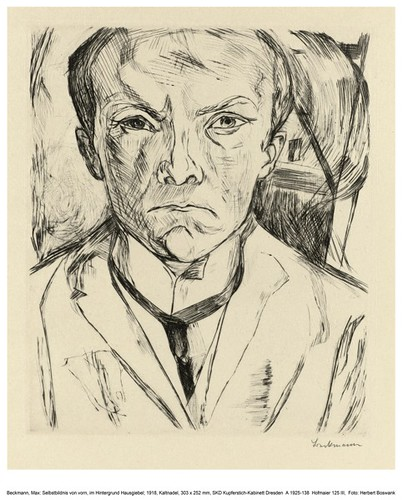 Self-portrait from the front, gabled house in the Background - Max Beckmann 1918