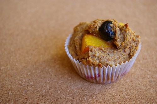 Peach-blueberry muffin