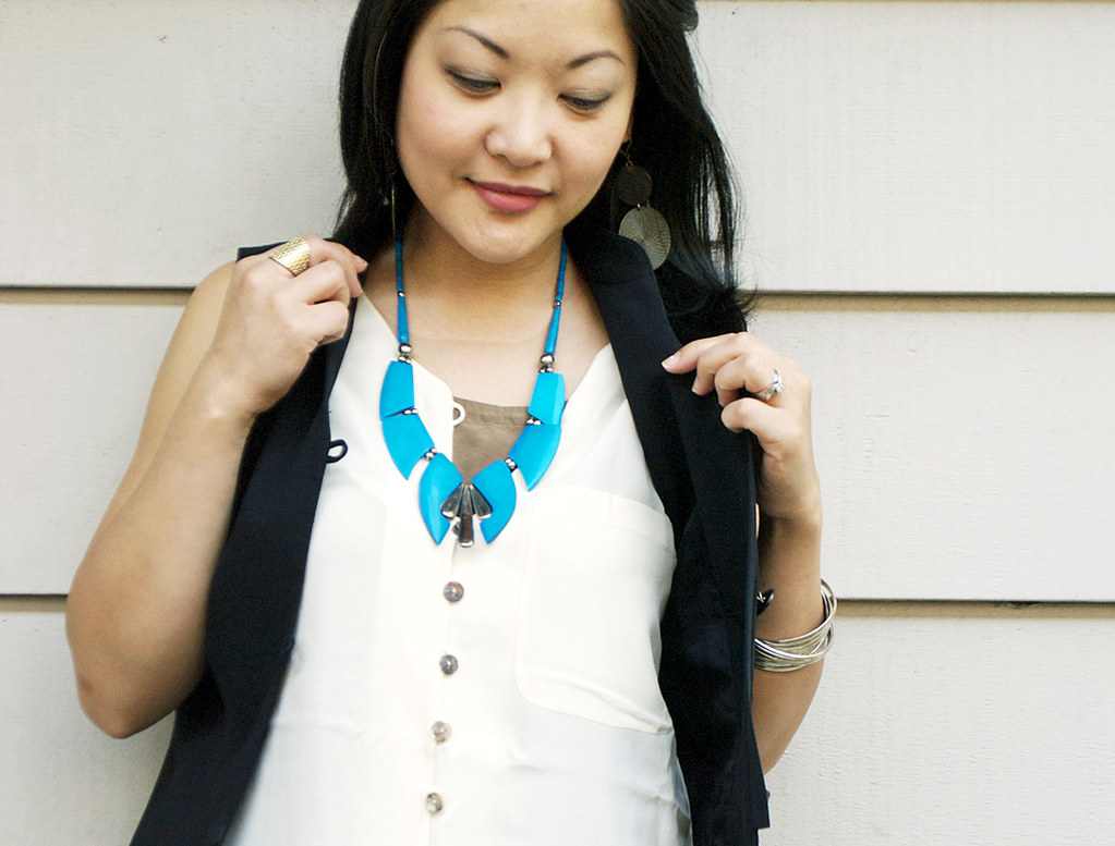 Black Vest - Cream Silk Sleeveless Top - Rolled Jeans - Vintage Turquoise Necklace