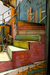 (farenough) Tags: park new pink blue red orange storm color green abandoned broken yellow kids children for graffiti katrina orleans louisiana colorful stair exterior ride im you outdoor hurricane flags entertainment step damage theme coming tunes looney six employee destroy personnel urbex