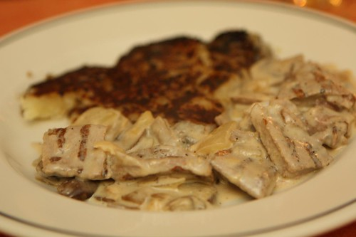 Grilled Veal in Mushroom Cream Sauce with Rosti Potatoes