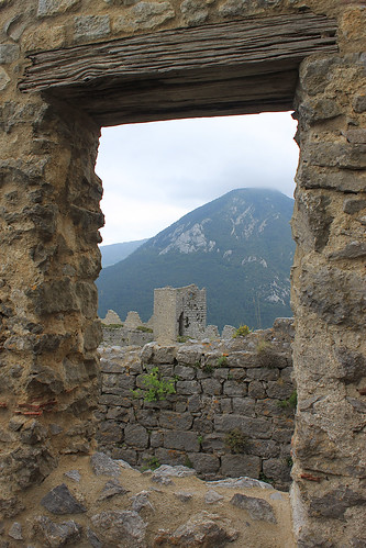 Looking out of donjon window to south tower, Puilaurens
