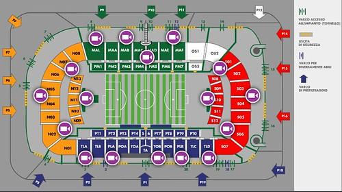 Mappa/ Suddivisione settori Stadio Artemio Franchi Firenze