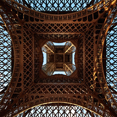 Steel Patterns (Philipp Klinger Photography) Tags: trip vacation sky cloud holiday paris france building tower monument metal architecture clouds nikon frankreich pattern tour angle pov geometry steel patterns eiffeltower wide wideangle eiffel symmetry toureiffel symmetrical below sight eiffelturm metall philipp klinger d700