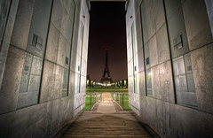 Darkness and Peace (TheFella) Tags: park longexposure paris france slr tower monument wall night digital photoshop canon garden dark eos lights for photo high iron europe ledefrance peace dynamic path eiffeltower landmark fair eiffel off nighttime photograph latoureiffel champ