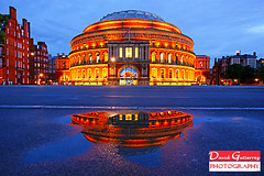 London Reflection (david gutierrez [ www.davidgutierrez.co.uk ]) Tags: uk sky reflection building london architecture night royalalberthall landmark bluehour 2012 proms