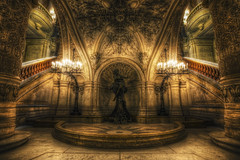 Gothic Opera (TheFella) Tags: longexposure paris france slr statue architecture stairs digital photoshop canon eos photo high opera europe candles ledefrance dynamic interior gothic entrance grand lobby photograph staircase processing slowshutter palais 5d inside dslr operahouse opra garnier range hdr highdynamicrange alcove grandstaircase markii palaisgarnier postprocessing parisopera rpubliquefranaise opragarnier charlesgarnier photomatix opradeparis frenchrepublic placedelopra rgionparisienne parisopra parisregion halll thefella 5dmarkii conormacneill thefellaphotography
