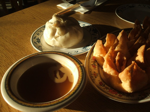 Crab rangoon, pork bun, sweet/sour & mustard