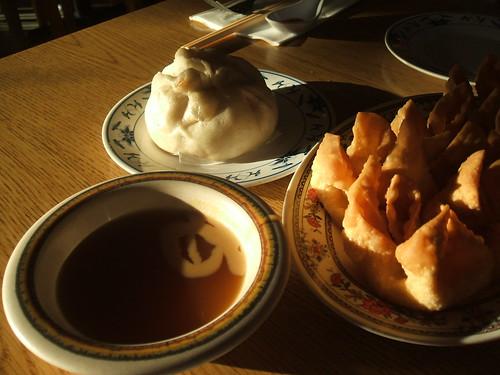 Crab rangoon, pork bun, sweet/sour & mustard