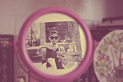 We belong to nobody, and nobody belongs to us. (theaveragefish) Tags: vintage mirror dorm audrey fade hepburn picnik breakfastattiffanys