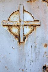 Iron cross (The Bacher Family) Tags: door abstract circle rust cross geometry battery chain bunker fortstevensstatepark thelightisall