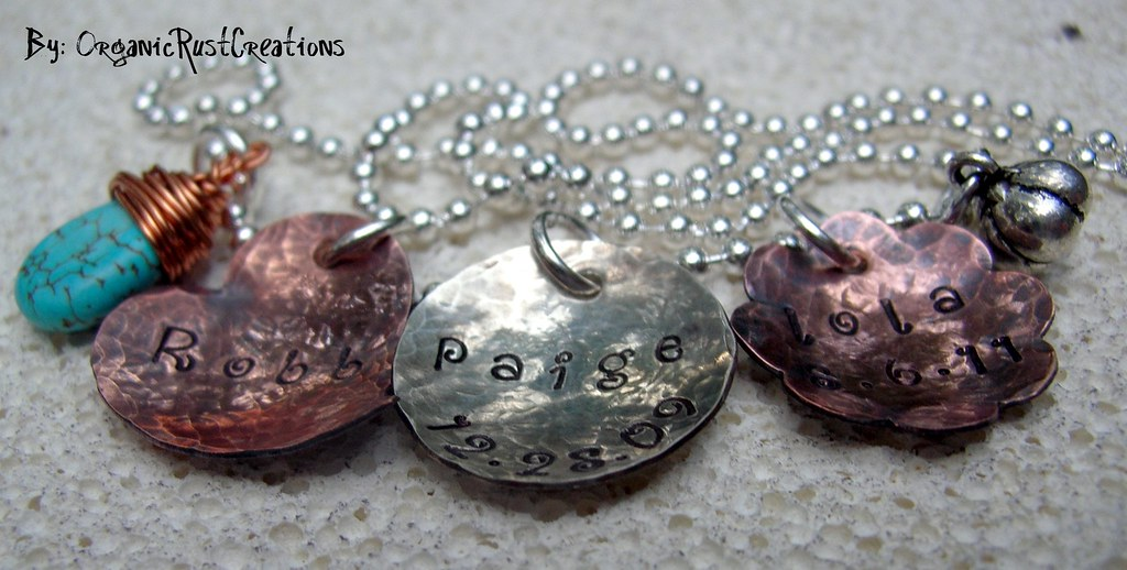 Hand Stamped Sterling Silver Copper Disc Flower Metal Heart Metal Personalize Custom Necklace