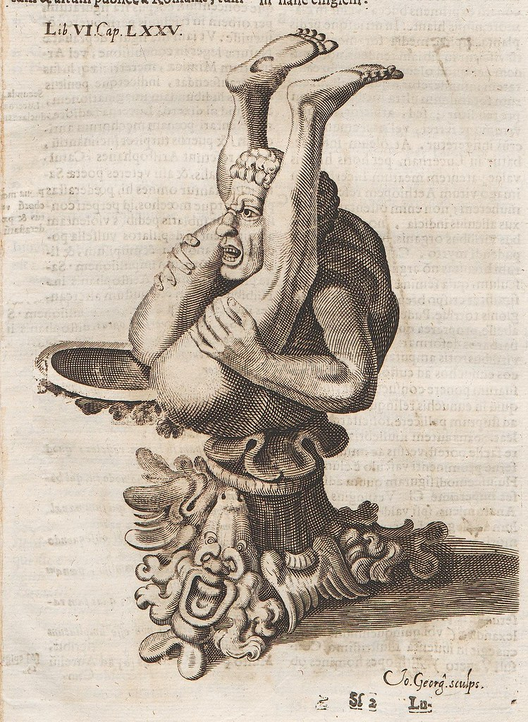 bizarre jug design; man bent in half (upside down) with liquid plate between legs