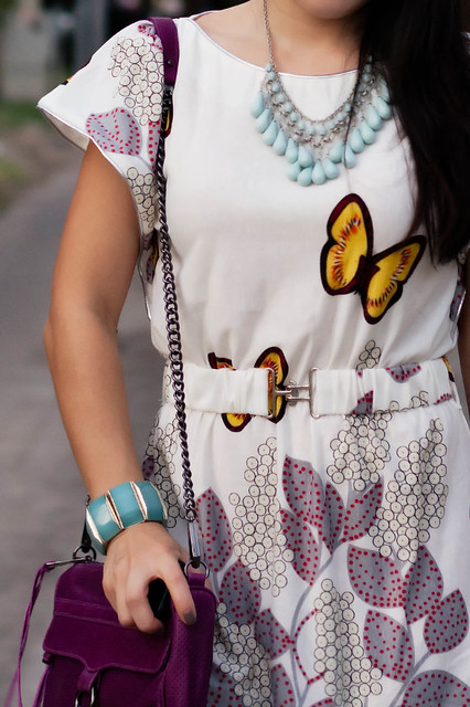 kk&co butterfly garden dress, jessica simpson dany pewter pumps, rebecca minkoff magenta mac clutch, forever 21 mint bracelet