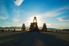 temple at sunset (hep) Tags: sunset man temple fireworks burningman blackrockcity burning burn brc blackrock 2011 burningman2011