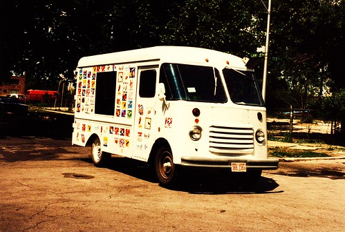 An old 1950's and 60's era ice cream truck in Chicago's Pulman neighborhood.  Chicago Illinois USA. June 1985. by Eddie from Chicago