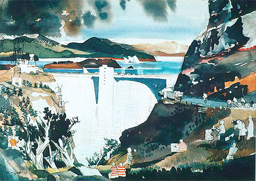 "Flaming Gorge Overlook, by Dong Kingman (b. 1911). Watercolor, 22x30,"" of Flaming Gorge Dam, Utah."
