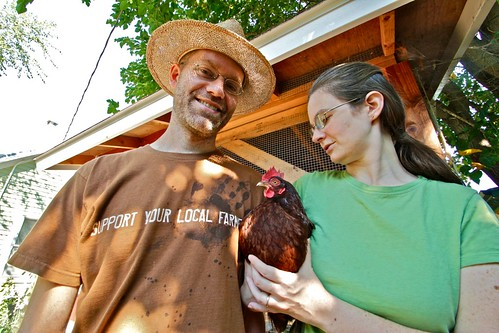 Aimee & Jeremy McAdams with Rhode Island Red