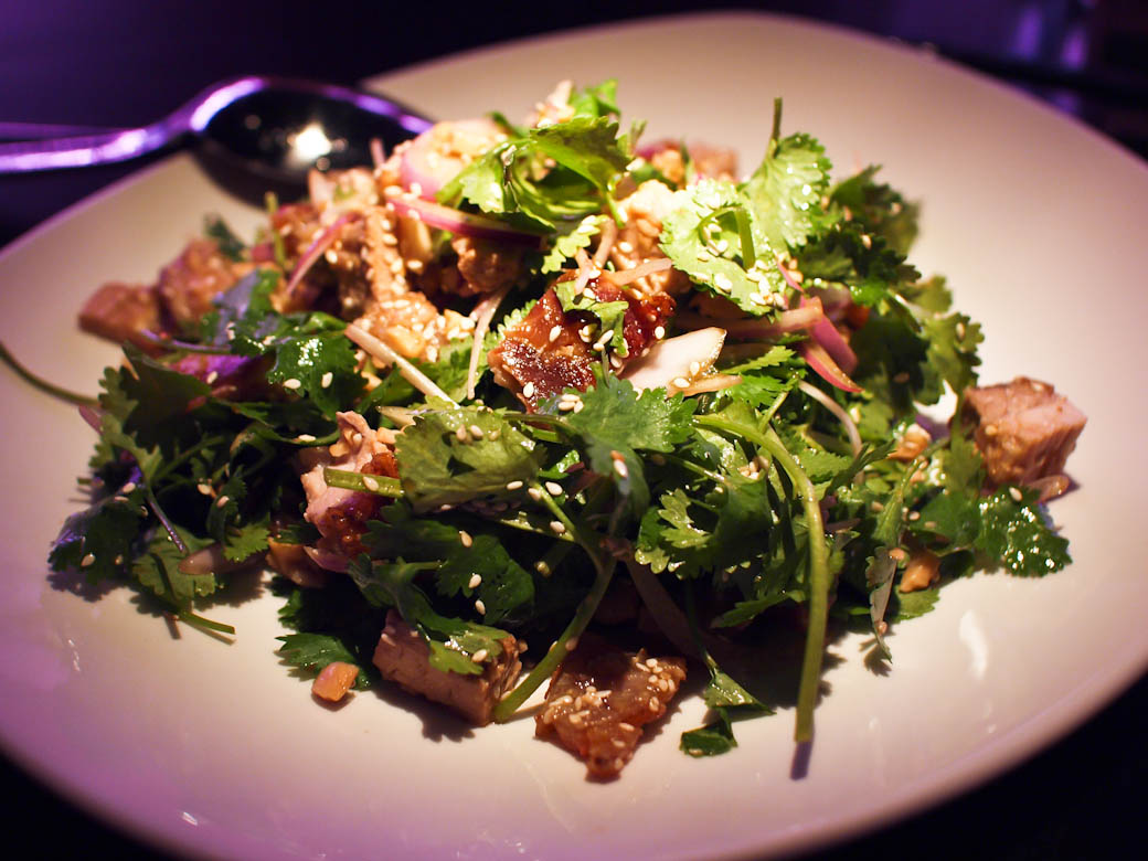 Spice Temple Melbourne - Guangxi style roast pork belly with tofu, coriander, peanuts, red onion & sesame seeds