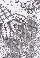 Card13 ATC (Bee Zen) Tags: atc zen doodling tangles dgj zentangle zentangles