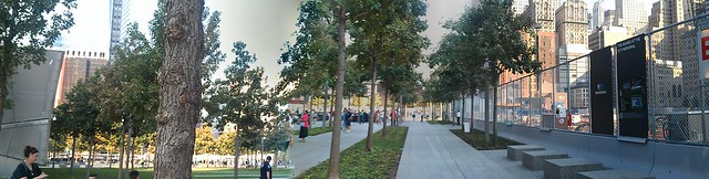 Panorama of the entrance to the Sept 11th Memorial