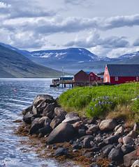 EASTERN FJORDS (euskadi 69) Tags: houses house lake clouds port harbor iceland stones maisons lac fjord pierres nuages moutains fjords islande montagnes fskrsfjrur iceland2011