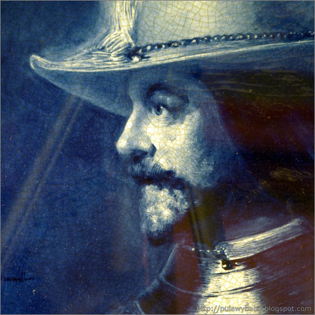 Fajans holenderski, Misa dekoracyjna z portretem mężczyzny w/g Rembrandta