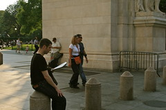 WASHINGTON SQUARE PARK, NEW YORK CITY, 13 SEPTEMBER 2011 (louisbickett) Tags: park newyorkcity trees men dogs architecture women babies lexington ky washingtonsquarepark raymondadams louiszoellarbickett aaronskolnick 13september2011