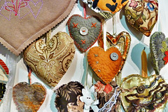 A selection of the brown Hearts for Christchurch (Steve Taylor (Photography)) Tags: world newzealand christchurch art museum hearts earthquake colours canterbury collection made posted nz quake southisland sent embroidered sewn allover quakeart heartsforchristchurch