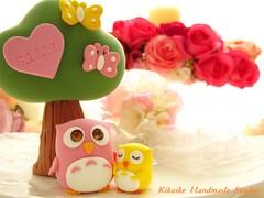 Birthday cake topper-owls (charles fukuyama) Tags: tree owl swarovski sweetheart lovely custom sculpted cakedecoration claydoll birthdaycaketopper