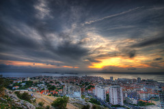 Up on the Hill (marcovdz) Tags: city sunset sea panorama mer france clouds landscape marseille view provence nuages paysage vue hdr ville notredamedelagarde coucherdusoleil 3xp