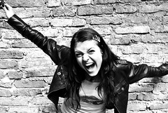 Freak! (Arman Dz.) Tags: old city bw white black girl metal town cool women sarajevo bosnia bricks gothic freak scream me2youphotographylevel1