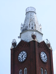 Church Clock Tower/ Steeple (Fleur-de-louis) Tags: red usa brick tower clock church architecture first indiana architectural steeple presbyterian in jeffersonville