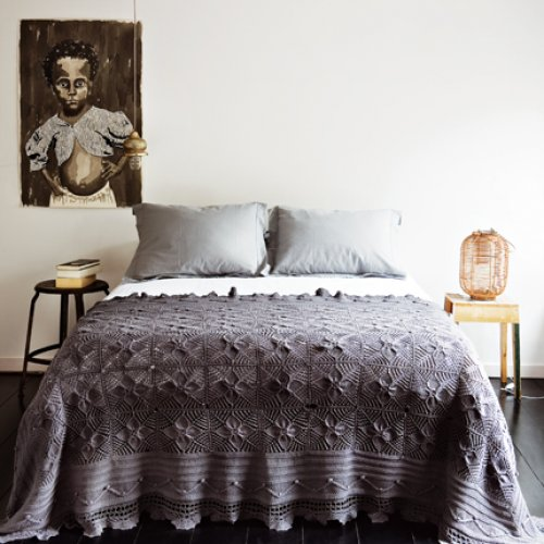 Parry & Anja Koops / Marie Claire Maison {gray and white eclectic vintage bohemian modern bedroom} by recent settlers