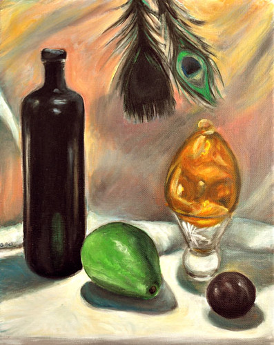 Avocado and feathers still life by Gayle Bell