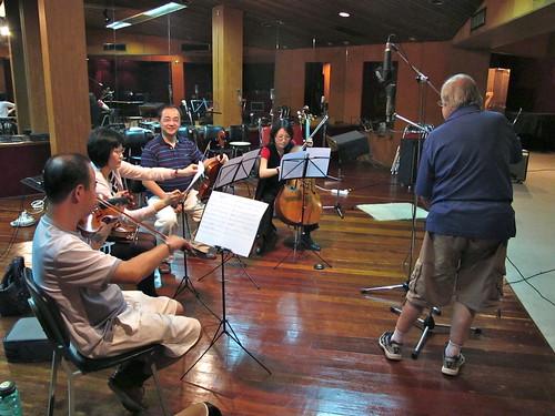 The string quartet... Jon Hubert setting up mics